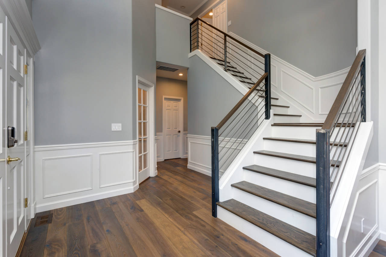 wainscoting installed on a set of stairs